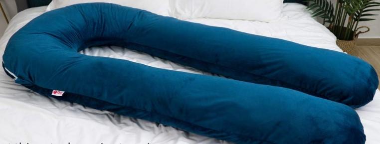 """Meiz 65"""" Full Body Pregnancy Pillow and Maternity Pillow for Sleeping with Velvet Cover, Blue"""